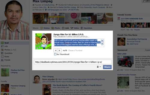 Sharing articles with Facebooka